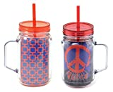 Set of 2 Extra Large Blue Insulated Mason Jar Tumbler Glasses Lid Straw Unique Last Minute Graduation Father Day Gift Idea for Guys Dad Father in Law Husband