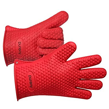 PUREFLY Orange Silicone Heat Resistant Gloves, Great for Grilling, BBQs, Baking, Smoke Ovens,Unique Maple Leaf Design in Finest Orange Silicone. Extra Long to Cover Wrists