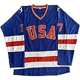 1980 USA Olympic Hockey #21 Mike Eruzione #17 O'Callahan #30 Jim Craig Miracle On Ice USA Jersey White Blue