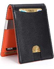 Carteras para Hombre RFID que Bloquean el Dinero Clip de Doble Pliegue Delgado Genuino Billetera de Cuero para Hombres con Ranura para Tarjeta de Crédito en La ventana con ID De bolsillo (naranja)