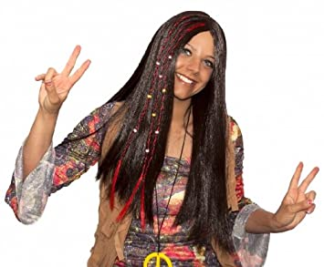 Beads 60s 70s Womens Fancy Dress Costume Accessory Ladies Long Hippy Wig