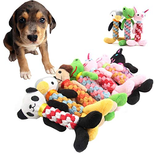 WensLTD Plush Dog Toys, Pet Dog Rope Teeth Chew Animal Shaped Squeaky Sound Stuffed Toys (F)
