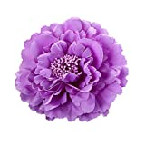 DZT1968 Women Girl 28 colors Flower Peony Hair Clips gorgeous Wedding Bridal Bridesmaid Prom Festival Hairpin Brooch (light purple)