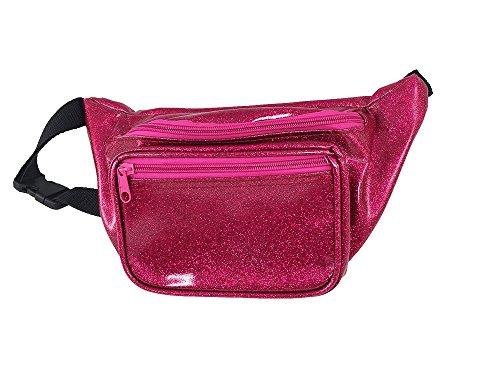 [Shiny Glittery Metallic Fanny Pack (Sparkle Pink)] (Festival Street Dance Costume)