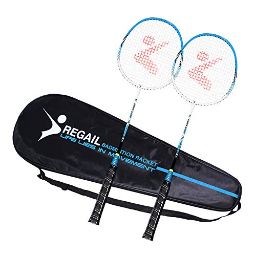 Festnight Badminton Racket Practice Badminton Racquet Set Shuttlecocks Replacement Set Students Children with Carrying Bag Indoor Outdoor Sports High Grade Lightweight Sturdy 2 Player