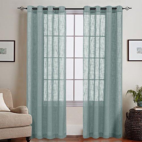 - Open Weave Sheer Curtains Living Room Slub Decorative Voile Window Treatments Grommet Top 2 Panels 55 by 84-Inch Blue Haze