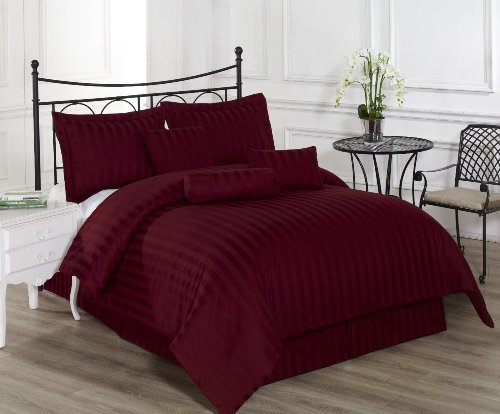 Royal Calico FULL BURGUNDY 7 Piece Comforter Set, Damask Stripes 100% Cotton Bed Cover