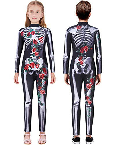 Little Girl Halloween Costume Patterns (Lovekider Girls Halloween Costume Size 9-10 Skeleton Pattern Cosplay Jumpsuit Rose Skull Print Bodysuit Outfit One-Piece for Fall)