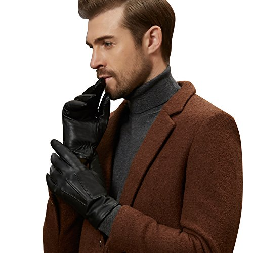 GSG Mens Luxury Genuine Nappa Leather Driving Gloves Touchscreen Motorcycle Gloves Prime Birthday Gift S/M Black