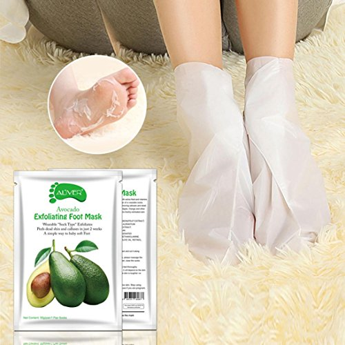 Baomabao Remove Dead Skin Foot Mask Peeling Cuticles Heel Feet Care Anti Aging (Avocado)