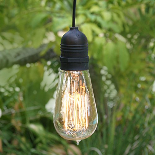 Fantado Single Socket Black Weatherproof Outdoor Pendant Light Lamp Cord, 15FT, by PaperLanternStore ()