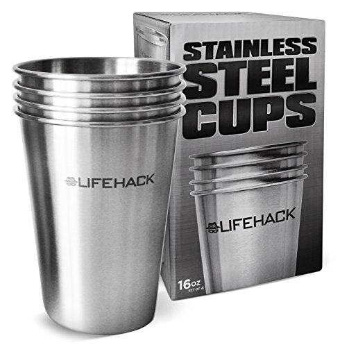 Aluminum Travel Wine Safe - Stainless Steel Cups (4 pack) by MrLifeHack - Healthiest & Safest Drinking Glasses - Great for Kids, Toddlers, Sippy & Outdoors -Premium Unbreakable Pint Tumblers - Available in 3 Sizes (16 oz)