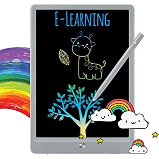 TEKFUN Boys Gifts, 8.5inch LCD Writing Tablet Doodle Board with Rainbow Color, Educational Toys for 3 4 5 6 Year Old Boys, Reusable Drawing Tablet Drawing Board(Gray)
