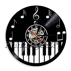 Piano Music Notes Wall Clock Piano Music Sign Vintage Vinyl Record Clock Piano Keyboard Musical Instrument Handmade Gift For Music Lover (Without LED)