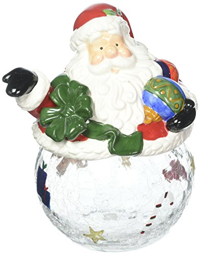Cosmos Gifts CS48421 Santa Cookie Candy Jar with Ceramic Jar, 9-1 2-Inch