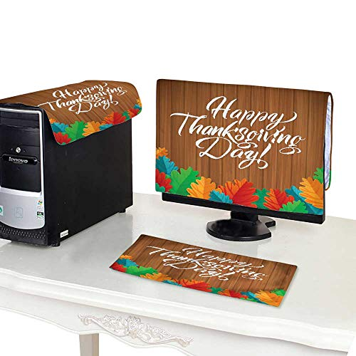 Miki Da Keyboard dust Cover Computer 24''MonitorSet Happy Thanksgiving Day Oak Leaves on Wood Background Greeting Card ()