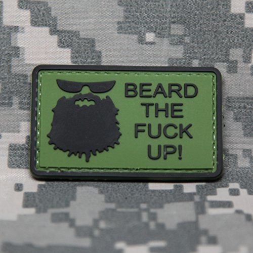 [BEARD THE FUCK UP! - PVC Morale Patch, Velcro Morale Patch by NEO Tactical Gear (OD)] (Japanese Beard)