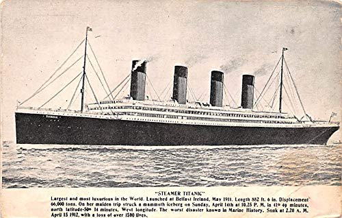 Titanic Ship Post Card Old Vintage Antique Loss of over 1500 Lives Writing on Back