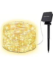 B.K.Licht buitenlichtkettingen op zonne-energie I 8 lichtstanden I IP44 I 240 LEDs warm wit I schemersensor