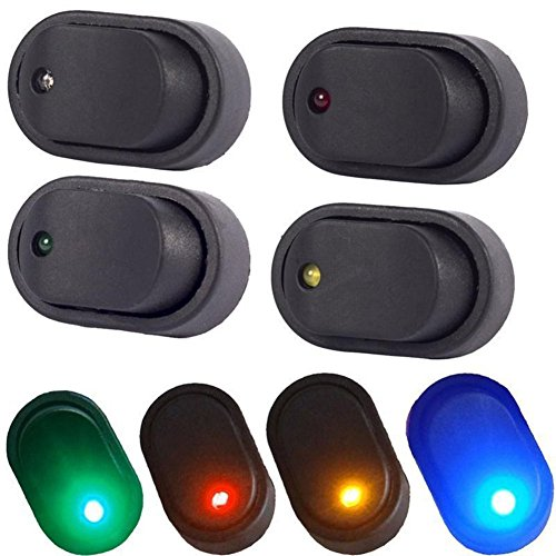 Led Toggle Switch - 12V 30A Waterproof LED Light On/OFF Car Boat Marine Auto Motorcycle 3P Rocker SPST Toggle Switch,Pack of 4