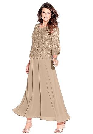 Roamans Women\'s Plus Size Lace Popover Dress at Amazon Women\'s ...