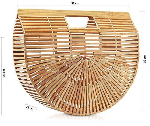 Naturel tailles 23 amp;Lo Cm Bambou X Inspiration L années 70 Cm Naturel Plusieurs couleurs 11 Japon rigide Jade 32 Cm Panier Demi 60 ou X E plusieurs peint H Lune TTwYx