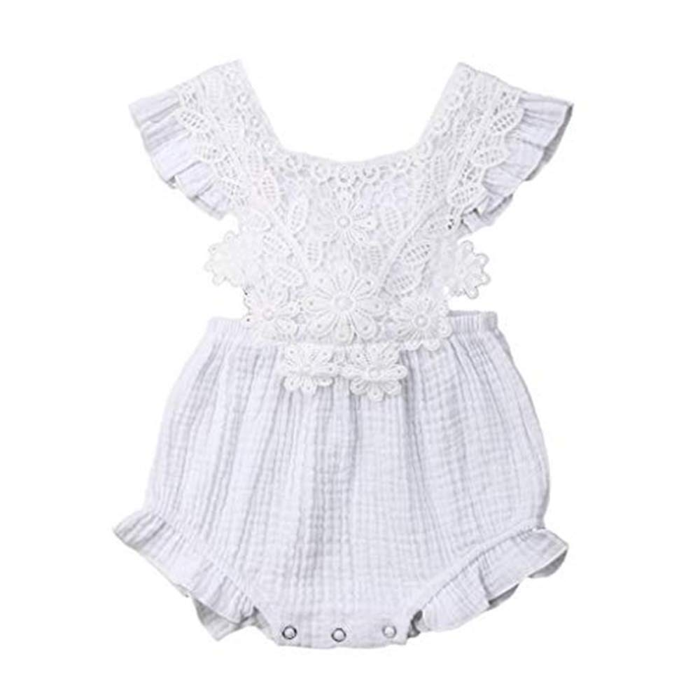 NUWFOR Newborn Infant Baby Girl Lace Floral Romper Bodysuit Sleeeless Clothes Outfits(White,18-24 Months)