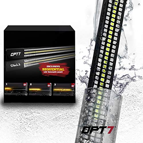 OPT7 60 Redline Triple LED Tailgate Light Bar w/Sequential Amber Turn Signal - 788 LED Solid Beam - Weatherproof No Drill Install - Full Function Reverse Brake Running 2yr Warranty