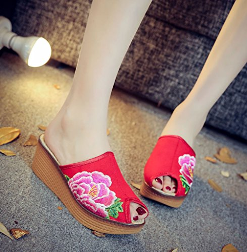 Avacostume Kinesiske Tradisjonelle Peon Broderi Womens Kile Sandal Red ...