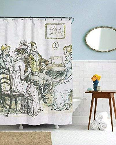 AshasdS Shower Curtains,Fabric Shower Curtain,Waterproof Fabric Bathroom Decor with Hooks, Bathroom Products,Jane Austen Gifts, Pride and Prejudice