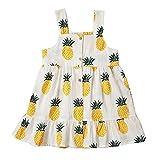 Peony Baby Toddler Girls Dresses Summer Sundress Pineapple Prints Organic 18m-6T (2-3Year(3T), Yellow)