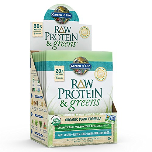Garden of Life Greens and Protein Powder, 10ct Tray, Organic Raw Protein and Greens with Probiotics/Enzymes, Vegan, Gluten-Free, Light Sweet Powder (Zero Belly Protein Powder)