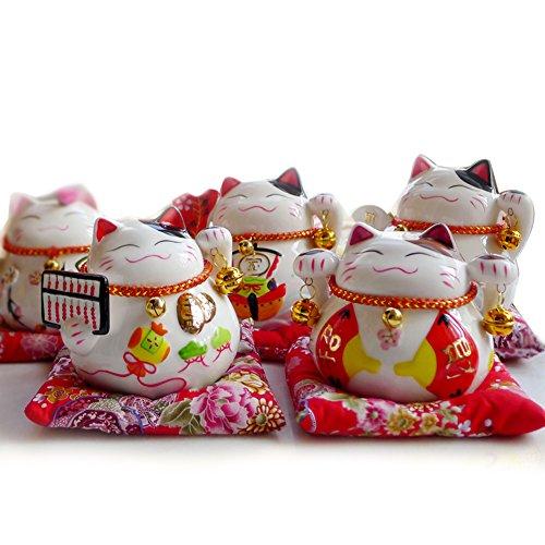 4.5 White Ceramic Maneki Neko Lucky Cat Coin Bank 5 PCS SET