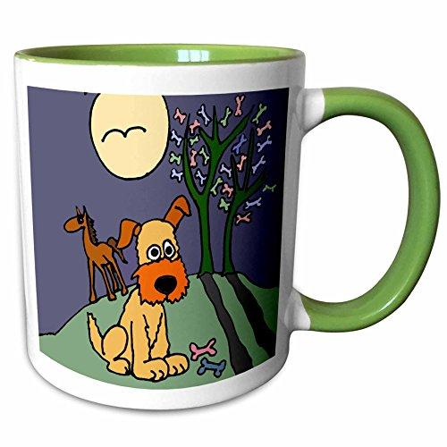 (3dRose All Smiles Art Dogs - Fun Terrier Puppy Dog by Dog Biscuit Tree Folk Art - 15oz Two-Tone Green Mug (mug_200560_12))