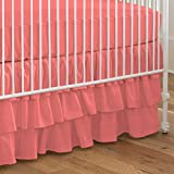 Carousel Designs Solid Coral Crib Skirt Three Tier 18-Inch Length