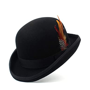 7ef134aa24b Black Wool Felt Steampunk Victorian Formal Dome Hat Vintage Magician  Fedoras President Bowler Hat