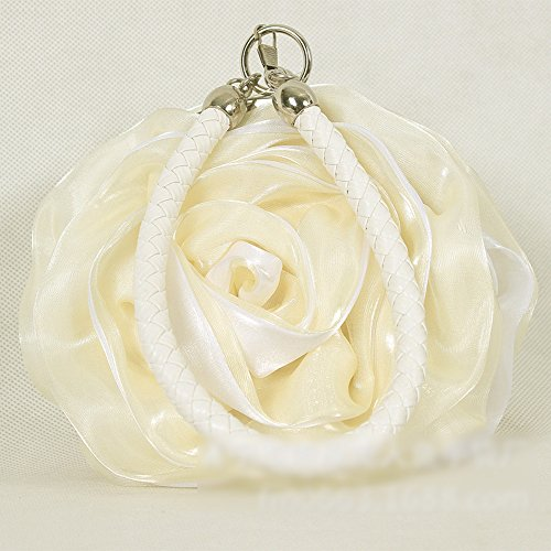 Handbag Lovely Flower Bag Clutch Women Evening Eleoption Satin Beige dOXwn67XqA