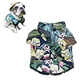 Meioro Pet Clothes Dog Clothes Comfortable Dog Shirt Hawaiian Style Seaside Resort Style Cotton Material Puppy French Bulldog Pug (L, Type-2)