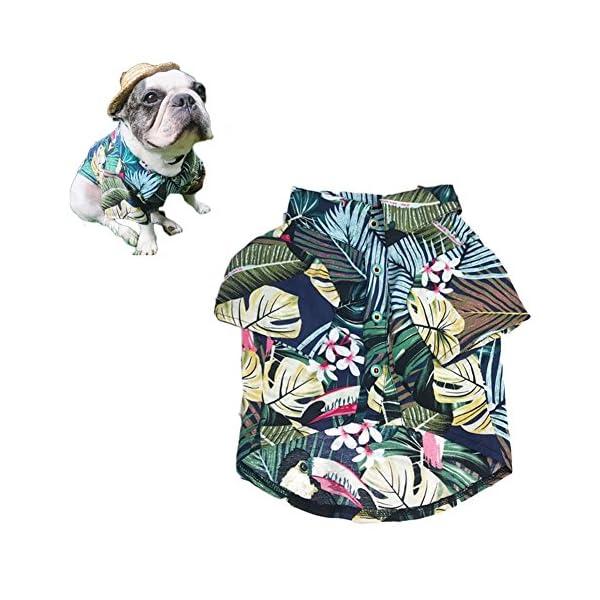 Meioro-Ropa-para-mascotas-Ropa-para-perros-Cmoda-camisa-de-perro-Estilo-hawaiano-Estilo-de-vida-costera-Material-de-algodn-Cachorro-Bulldog-francs-Pug-Blue-M