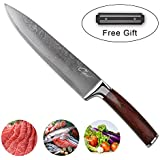 Damascus Handmade Chef Knife - 8 inches long 67 layers with a wooden Brazilian handle & FREE magnet bar