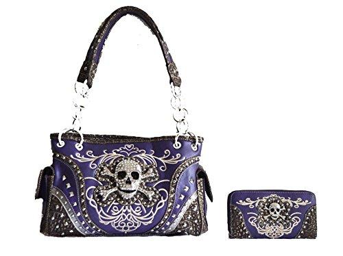 western rhinestone skull concho stitched handbag purse set (purple) Rhinestone Accented Handbag Purse