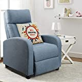 Homall Manual Recliner Chair Padded Light Blue Tufted Fabric Home Theater Seating Modern Chaise Couch Black Lounger Sofa Seat (Blue)