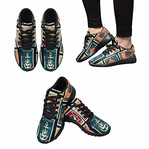 InterestPrint Womens Trail Running Shoes Jogging Lightweight Sports Walking Athletic Sneakers Set Of Stamps On The Theme Of Seafood Restaurants Multi 1 ik9m6tC3P