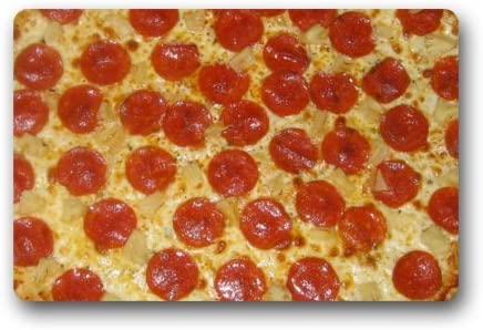 Non-Slip Entryways Funny Pepperoni Cheese Pizza Picture Rectangle Indoor Outdoor Rectangle Floor Mat Doormat – 23.6 L x 15.7 W , 3 16 Thickness