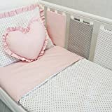 **NEW LUXURY & EXCLUSIVE POWDER PINK, WHITE & GREY POLKA DOT BABY GIRL BEDDING SET - DUVET SET 100x135cm, 8 COT BAR BUMPERS, COT TIDY, HEART CUSTHION to fit cot bed