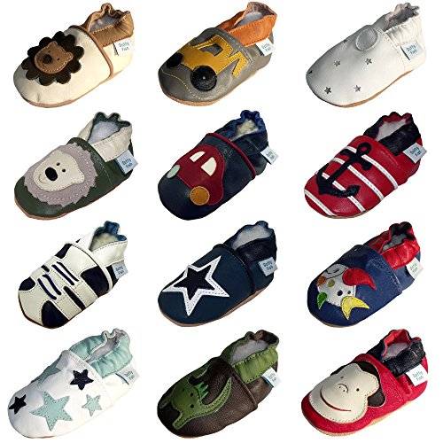 Dotty Fish Baby Boys' Soft Leather Shoe with Suede Soles Red and Blue Anchors 6-12 Months