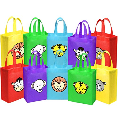 Ava & Kings Fabric Tote Party Favor Goodie Gift Bags for Candy, Treats, Toys, Loot - Birthdays, Showers, Easter, Halloween, Lunch, Grocery - Set of 10 - Safari Animal Face Theme -