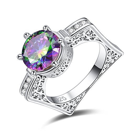 Psiroy 925 Sterling Silver Created Rainbow Topaz Filled Contemporary Solitaire Ring for (Contemporary Sterling Silver Rings)