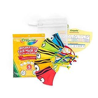 Crayola Kids Face Mask - 5 Reusable Cloth Face Masks Set, Tip Faces, Back to School Supplies