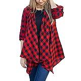 Womens Ladies Plaid Cardigan Long Sleeve Irregular Hem Coat Parka Outerwear
